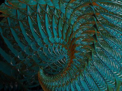 Fractal Digital Art - Dragons Tale by Betsy Jones