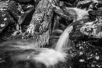 Photograph - Dragons Teeth Icicles Waterfall Great Smoky Mountains Painted Bw    by Rich Franco
