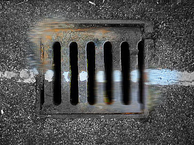 Street Painting - Drain With Blue Line by Charles Stuart