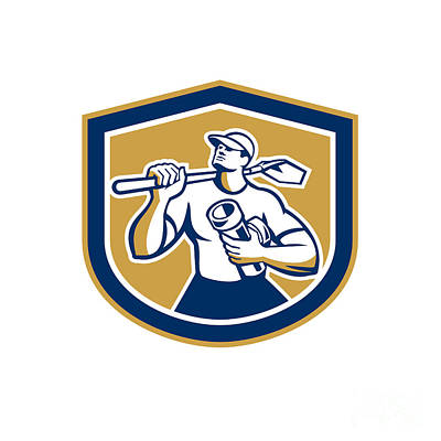 Shovel Digital Art - Drainlayer Holding Pipe And Shovel Shield by Aloysius Patrimonio