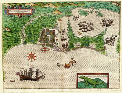 Drake Photograph - Drake's Attack On Cartagena by Library Of Congress, Rare Book And Special Collections Division