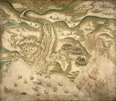 Drake's Attack On St Jago Print by British Library