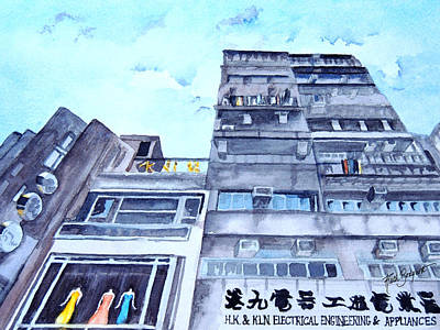 Drama Above The Street Level Shops Hongkong Art Print by Ruth Bodycott