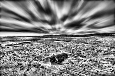 Photograph - Drama At Freshwater West Mono by Steve Purnell