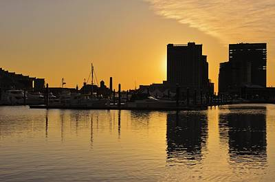 Dramatic Golden Sunrise Baltimore Inner Harbor  Art Print by Marianne Campolongo