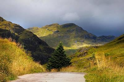 Dramatic Light. Rest And Be Thankful. Scotland Art Print by Jenny Rainbow