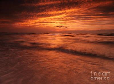 Pinery Photograph - Dramatic Red Sky Over Lake Huron Sunset Scenery by Oleksiy Maksymenko