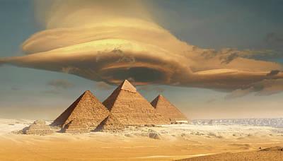 Dramatic Storm Cloud Above Pyramids Art Print by Jimpix