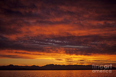Photograph - Dramatic Sunet Over Puget Sound by Jim Corwin