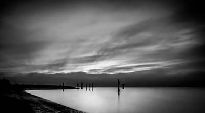 Seascape Photograph - Dramatic Sunset In Black And White by Eva Kondzialkiewicz
