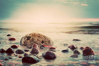 Rock Photograph - Dramatic Sunset On A Rocky Beach by Michal Bednarek
