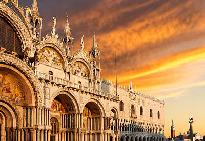 Photograph - Dramatic Sunset Over San Marco Basilica by Gurgen Bakhshetsyan