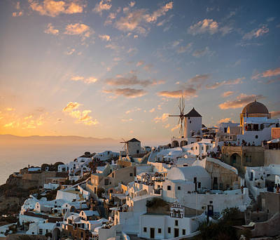 Dramatic Sunset Over The Windmills Of Oia Village In Santorini Art Print