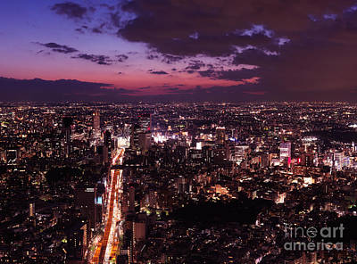Dramatic Twilight Scenery Of Tokyo City Landscape And Highway Print by Oleksiy Maksymenko