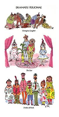 Theater Drawing - Dramatis Personae by William Steig