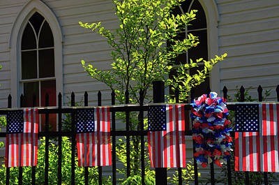 Draped Flags, July 4th, Parade Art Print by Michel Hersen