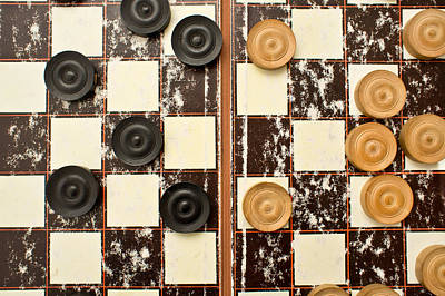 Draughts Pieces Art Print by Tom Gowanlock