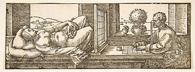 Drawing - Draughtsman Making A Perspective Drawing Of A Reclining Woman by Albrecht Duerer
