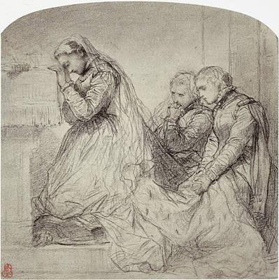 Communion Drawing - Drawing By Paul Delaroche Derniere Communion Marie Stuart by Artokoloro