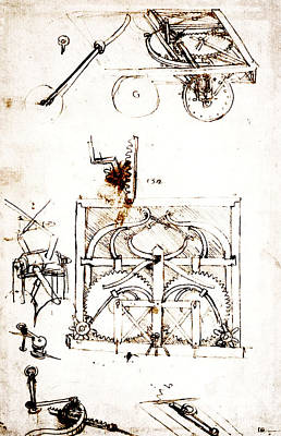 Mechanism Drawing - Drawing For An Automobile Mechanisms by Leonardo da Vinci