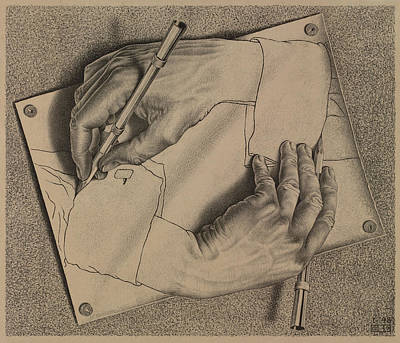 Volume Painting - Drawing Hands by Maurits Cornelis Escher