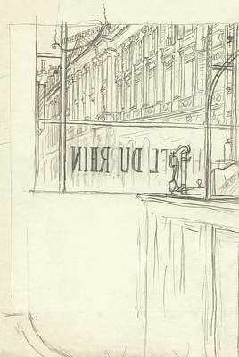 Drawing Of A Bar And Front Window Of Hotel Du Rhin Art Print