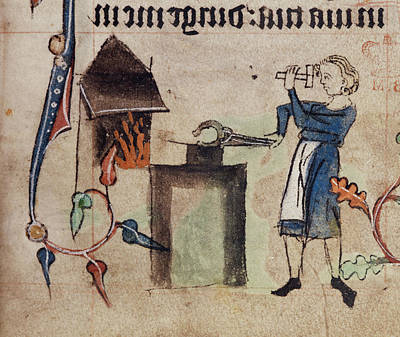 Drawing Of A Blacksmith At Work Art Print by British Library