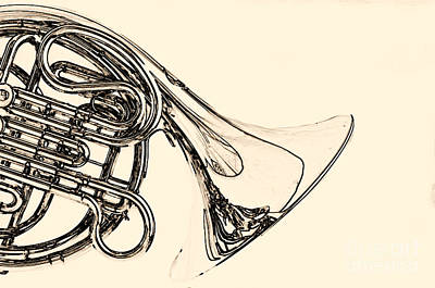 Photograph - Drawing Of A French Horn Classic In Black And White 3429.03 by M K  Miller