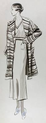 Drawing Of A Model Wearing Tennis Dress Art Print