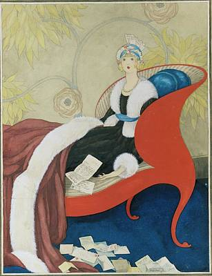Drawing Of A Woman On A Chaise Surrounded Art Print by George Wolfe Plank