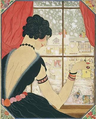 Winter Digital Art - Drawing Of A Woman Waving At A Friend by Helen Dryden