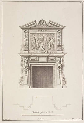 Norfolk Wall Art - Photograph - Drawing Of Chimney Piece In Houghton Hall by British Library