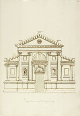 Elevation Photograph - Drawing Of Elevation Of Italian Building by British Library