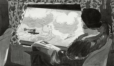Passenger Plane Digital Art - Drawing Of Female Passenger Flying Over Havana by  Lemon