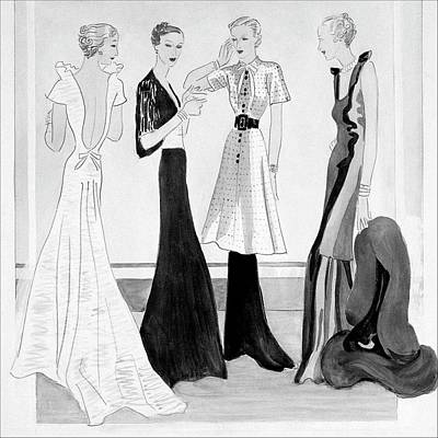 Drawing Of Four Well-dressed Women Art Print