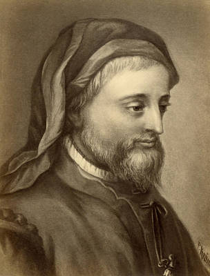 Contemplative Photograph - Drawing Of Geoffrey Chaucer by Underwood Archives