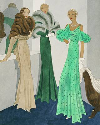 Drawing Of Models Wearing Wool Evening Dresses Art Print