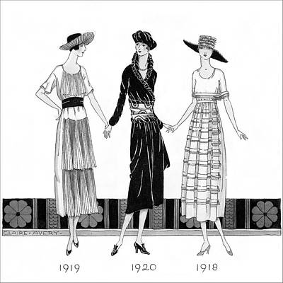 1920s Fashion Digital Art - Drawing Of Three Women Wearing Costumes by Claire Avery