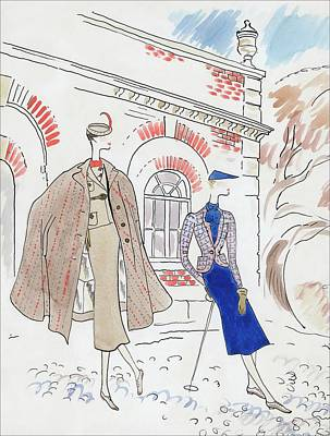 Gloves Digital Art - Drawing Of Two Women In Tweed Outfits by Cecil Beaton