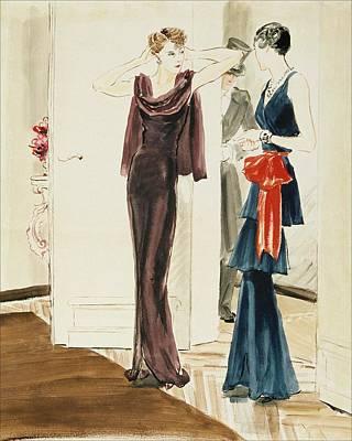 Gown Digital Art - Drawing Of Two Women Wearing Mainbocher Dresses by Rene Bouet-Willaumez
