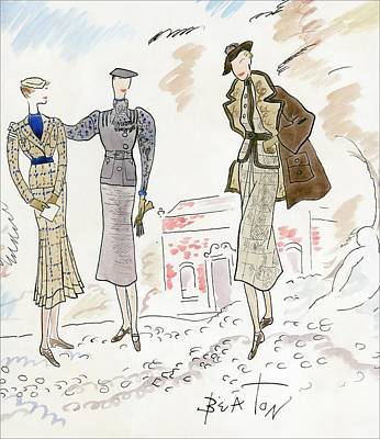 Digital Art - Drawing Of Women In Stylish Designer Outfits by Cecil Beaton