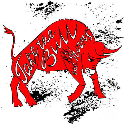 Red Digital Art - Drawing Red Angry Bull On The Grunge by Ana Babii
