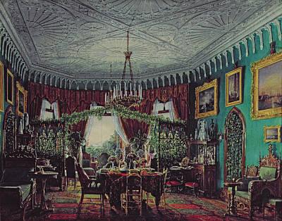 Vase Of Flowers Drawing - Drawing Room Of Empress Alexandra Feodorovna by Eduard Hau