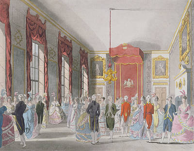 Royal Ladies Photograph - Drawing Room, St. Jamess, Engraved By John Bluck Fl.1791-1819 Published By Ackermanns Repository by T. Rowlandson