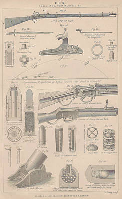 Drawings Of Gun Parts Art Print by Anon