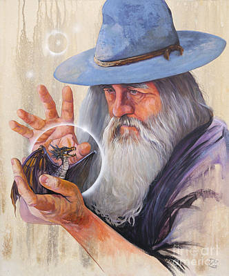 Sorcerer Painting - Dream Awake The Dragons by J W Baker