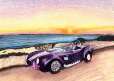 Beach Sunset Drawing - Dream Car by Amanda Balough