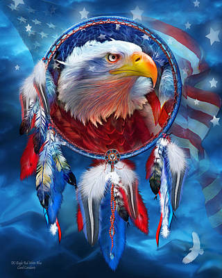 Independence Day Flag Mixed Media - Dream Catcher - Eagle Red White Blue by Carol Cavalaris