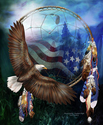 Bald Mixed Media - Dream Catcher - Freedom's Flight by Carol Cavalaris