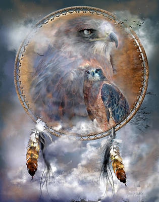 Hawk Mixed Media - Dream Catcher - Hawk Spirit by Carol Cavalaris